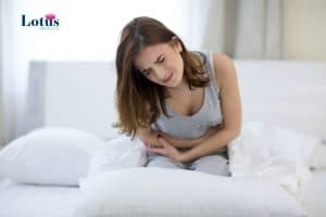 A woman suffering from pelvic and period pain due to endometriosis